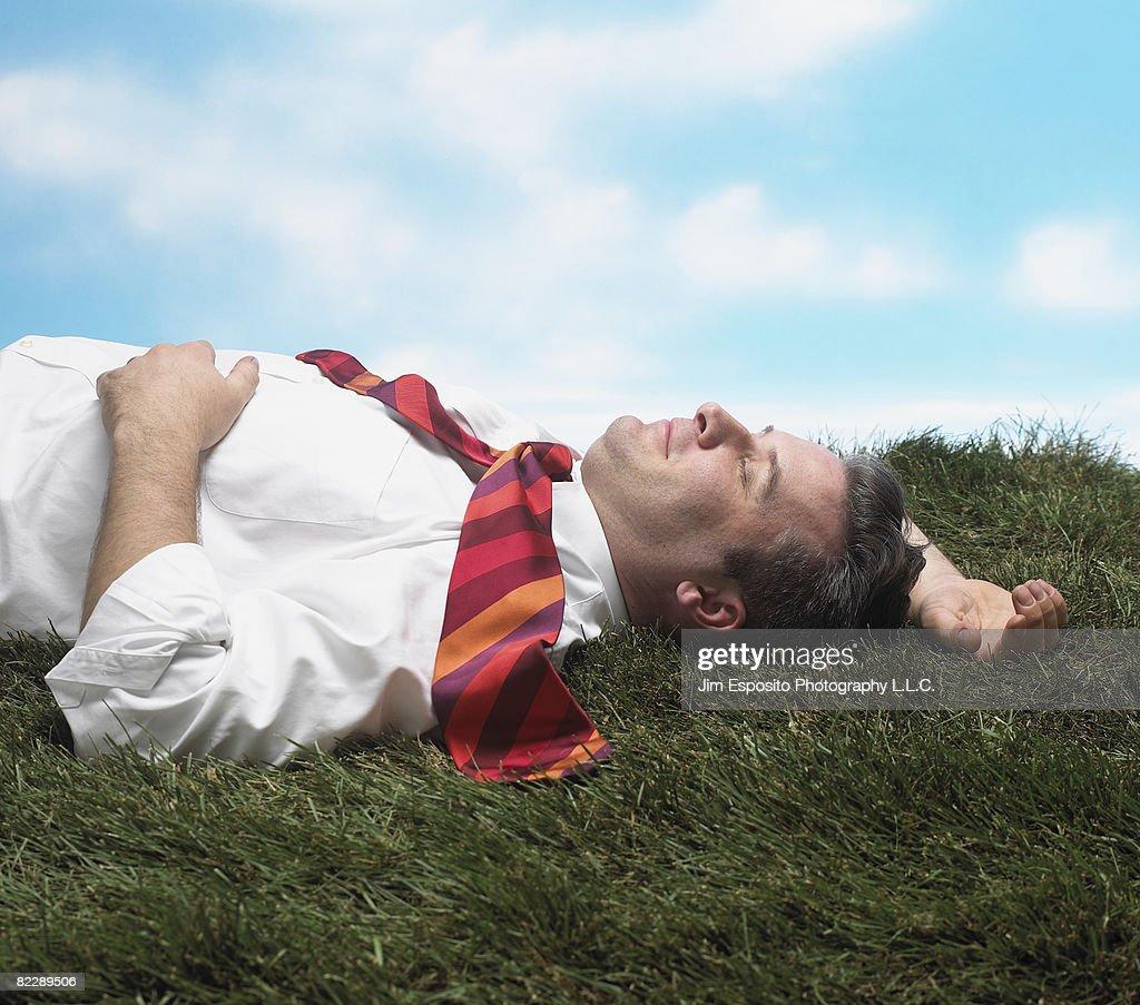 Business Man on Grass : Stock-Foto