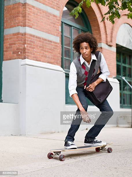 Business man on longboard
