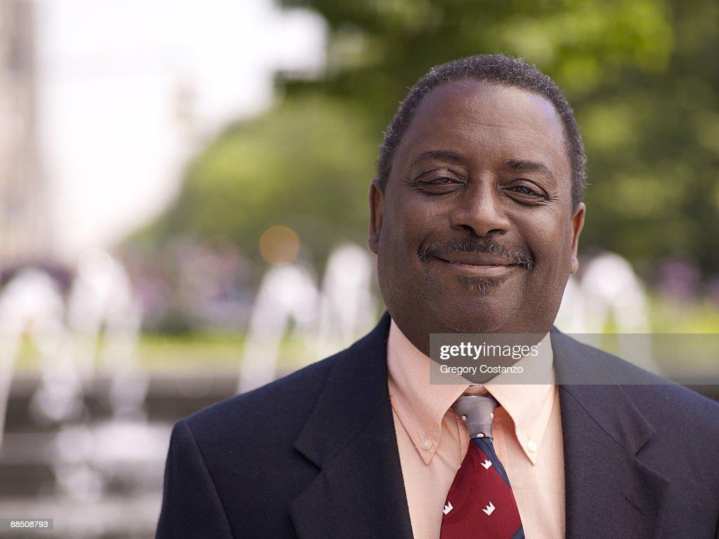 Business man portrait in Columbus Cirlce : Stock Photo