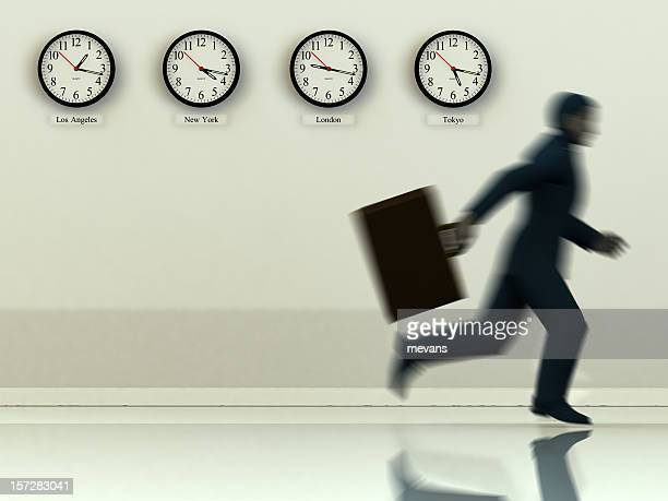 Business man running with suitcase with different time zone