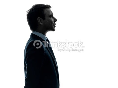 Retrato de un hombre de negocios serio perfil de silhouette : Foto de stock