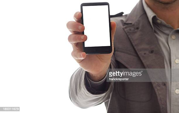Business man showing a blank contemporary smart phone