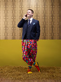 Business man top, clown bottom