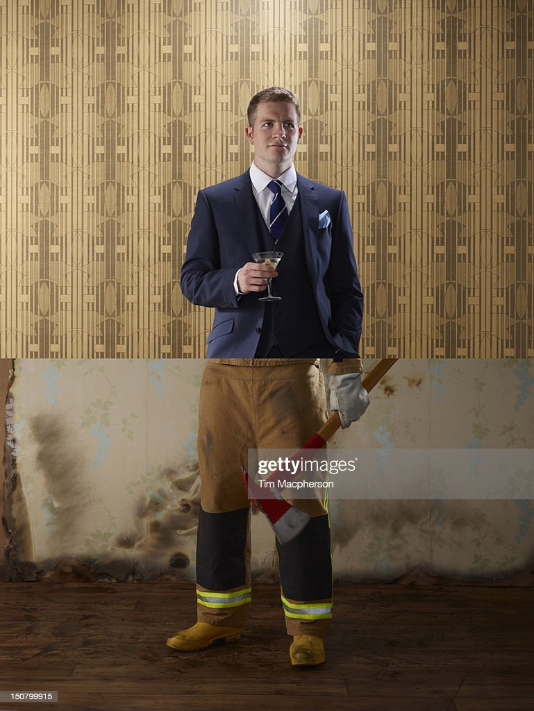 Business man top, foreman bottom : Stock Photo