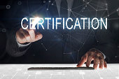 Business man touching screen with Certification writing