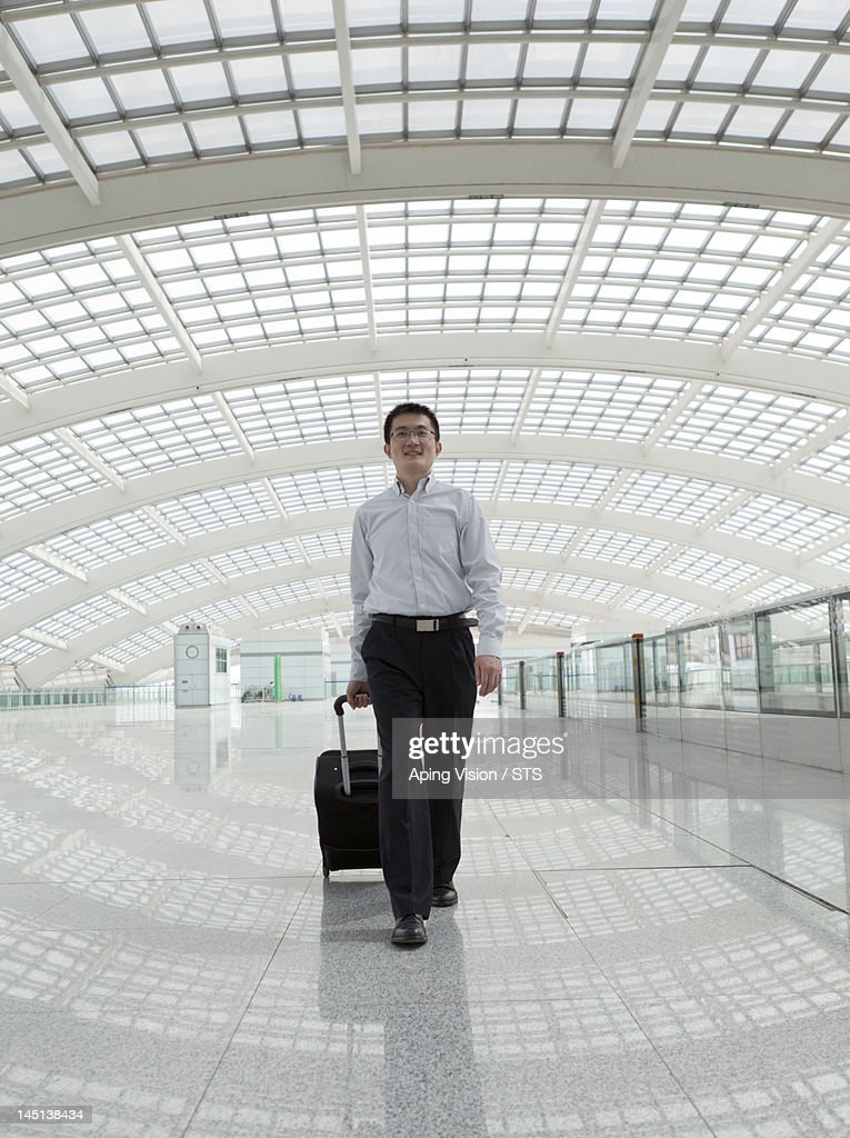 business man travel in airport