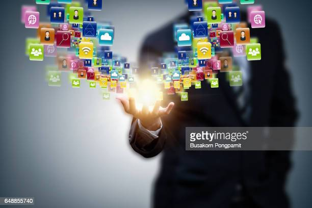 Business man virtual icon with technology application icons of social network design
