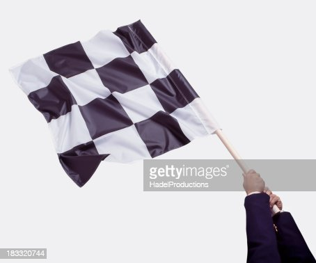 Business Man waving Checkered Flag