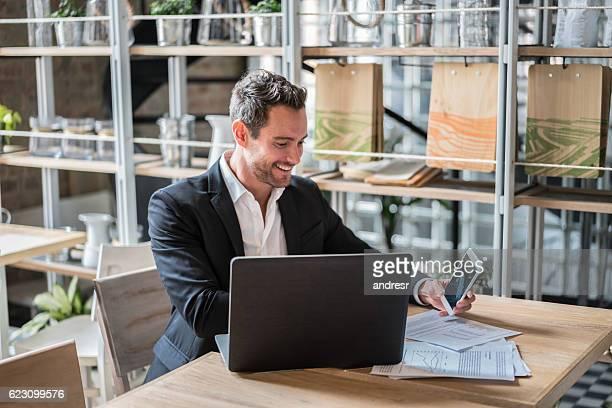 Business man working at a restaurant