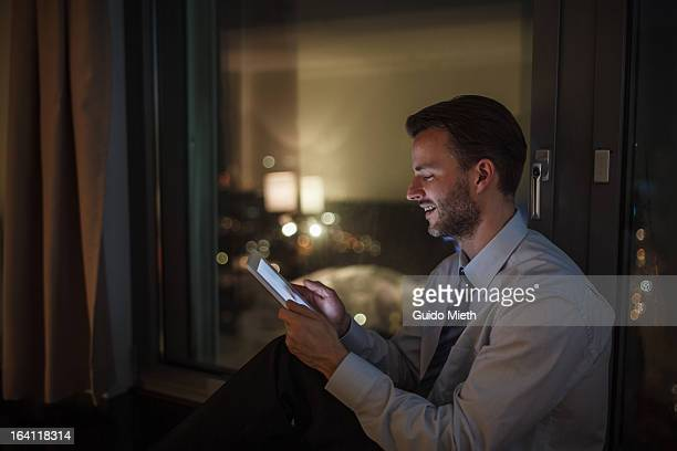 Business man working with tablet pc.