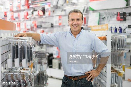 Business manager running a tech store