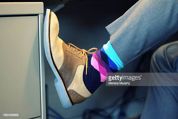 Business Man's colorful socks and shoes