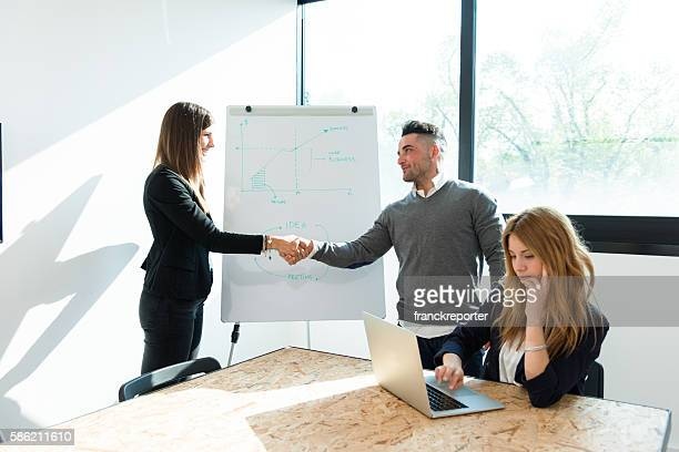 business meeting agreement in the meeting room