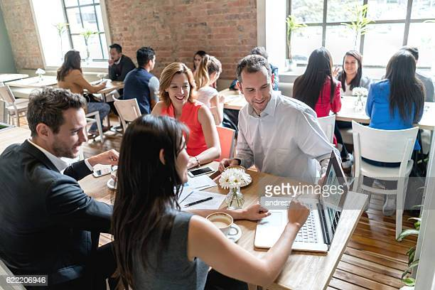 Business meeting at a restaurant