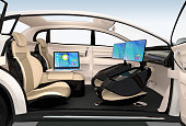 Business meeting concept in autonomous car. The monitor could folding into front seat. 3D rendering image.