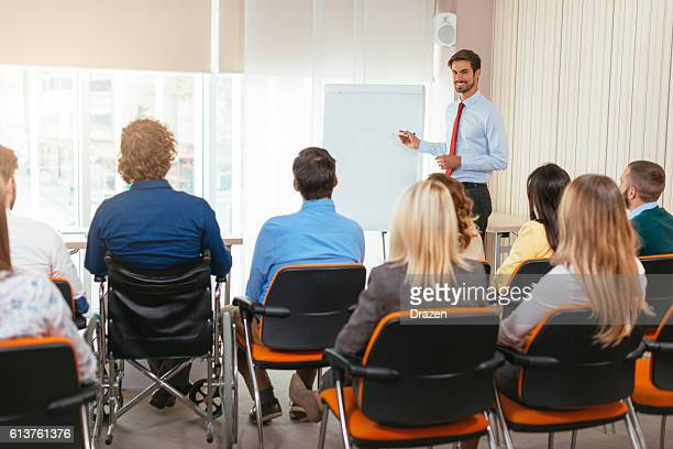 Business meeting with employees