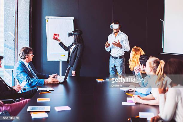 Business meeting with virtual reality simulator