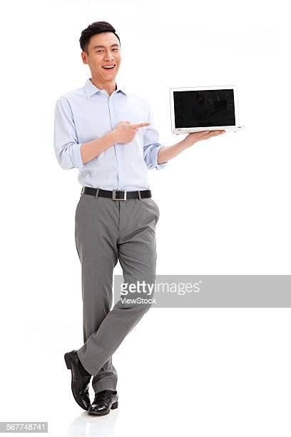 Business men display notebook computer