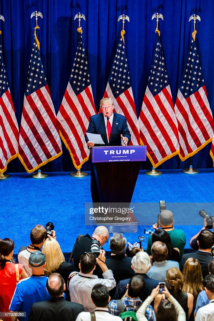 Business mogul Donald Trump gives a speech as he announces his candidacy for the U.S. presidency at Trump Tower on June 16, 2015 in New York City. Trump is the 12th Republican who has announced running for the White House.