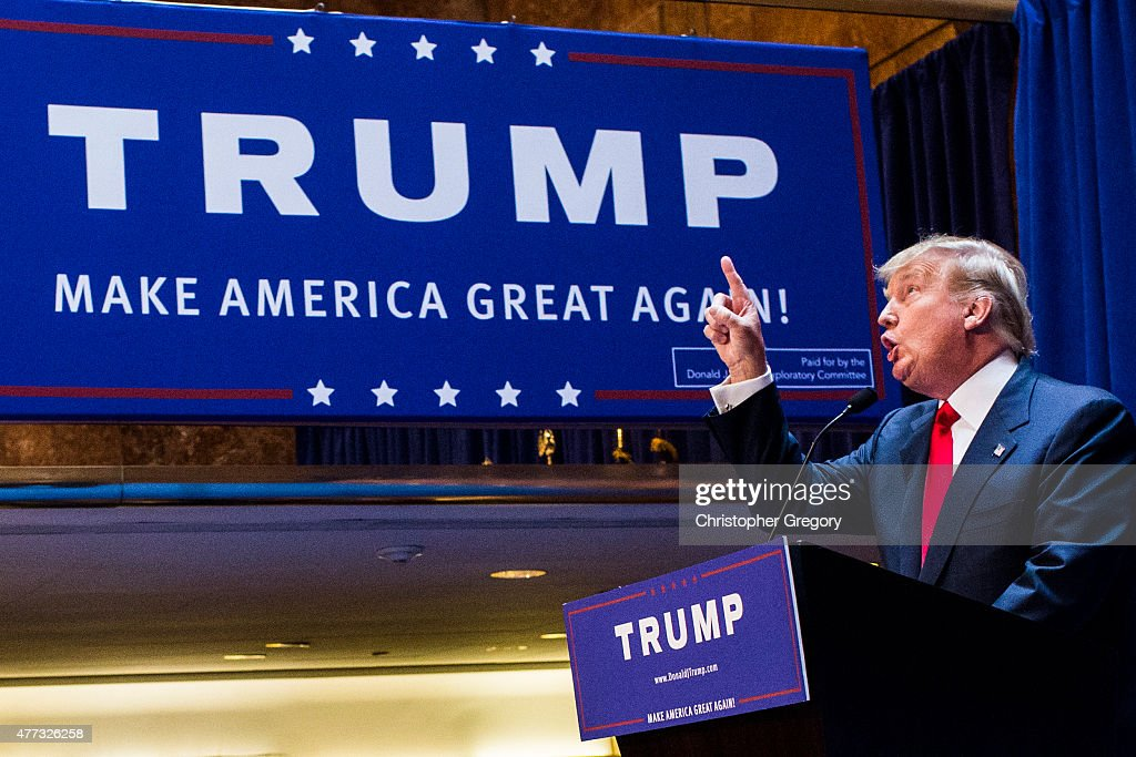 Business mogul <a gi-track='captionPersonalityLinkClicked' href=/galleries/search?phrase=Donald+Trump+-+Born+1946&family=editorial&specificpeople=118600 ng-click='$event.stopPropagation()'>Donald Trump</a> points as he gives a speech as he announces his candidacy for the U.S. presidency at Trump Tower on June 16, 2015 in New York City. Trump is the 12th Republican who has announced running for the White House.