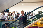 Business mogul Donald Trump rides an escalator to a press event to announce his candidacy for the US presidency at Trump Tower on June 16 2015 in New...
