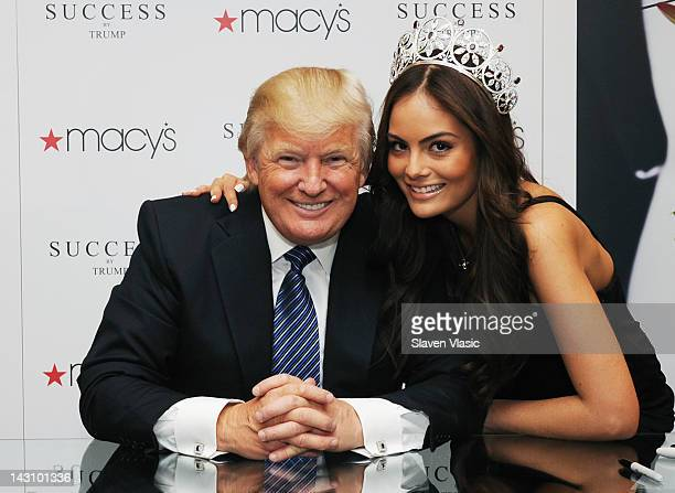 Business mogul/TV personality Donald Trump and Miss Universe 2010 Ximena Navarrete attend the Success by Trump fragrance launch at Macy's Herald...