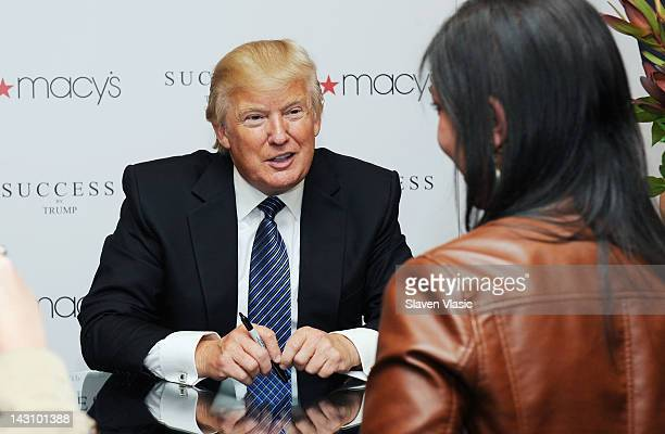 Business mogul/TV personality Donald Trump attends the Success by Trump fragrance launch at Macy's Herald Square on April 18 2012 in New York City
