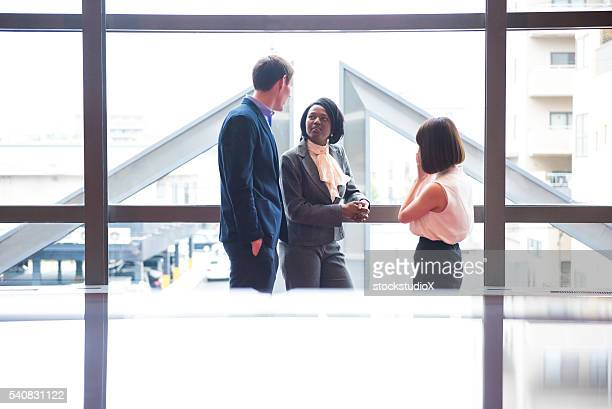 Business networking in an office foyer