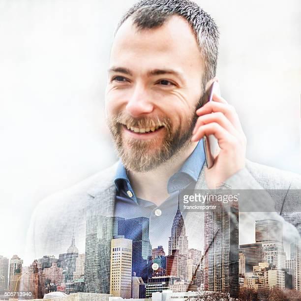 business auf der Stadt-Doppelbelichtung