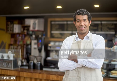 Business owner at a small cafe