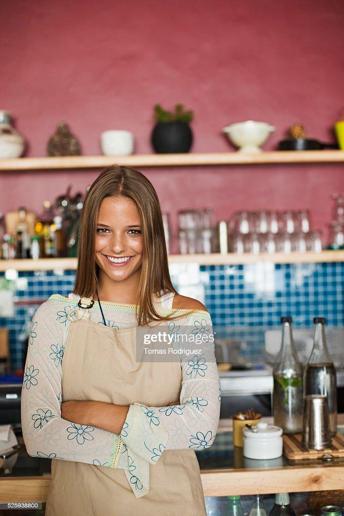 Business owner standing in cafe : Foto de stock