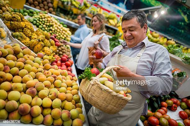 Business owner working at the food market