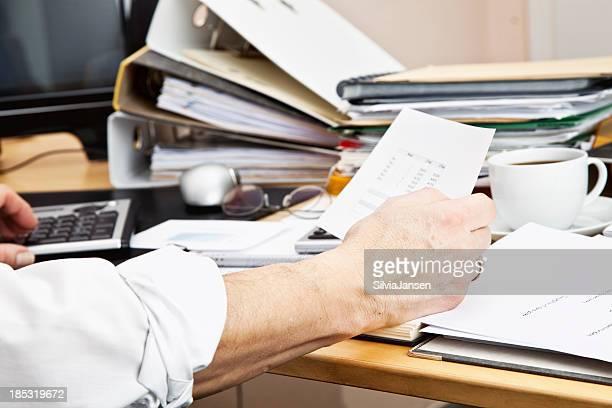 business paperwork planning messy desktop