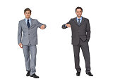 Business partners leaning on copy space on white background