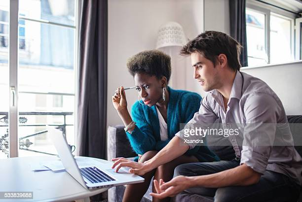 Business partners working at home