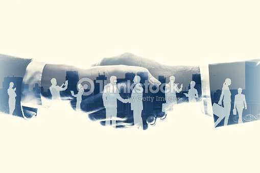 business partnership concept. Multiple exposure. : Foto stock