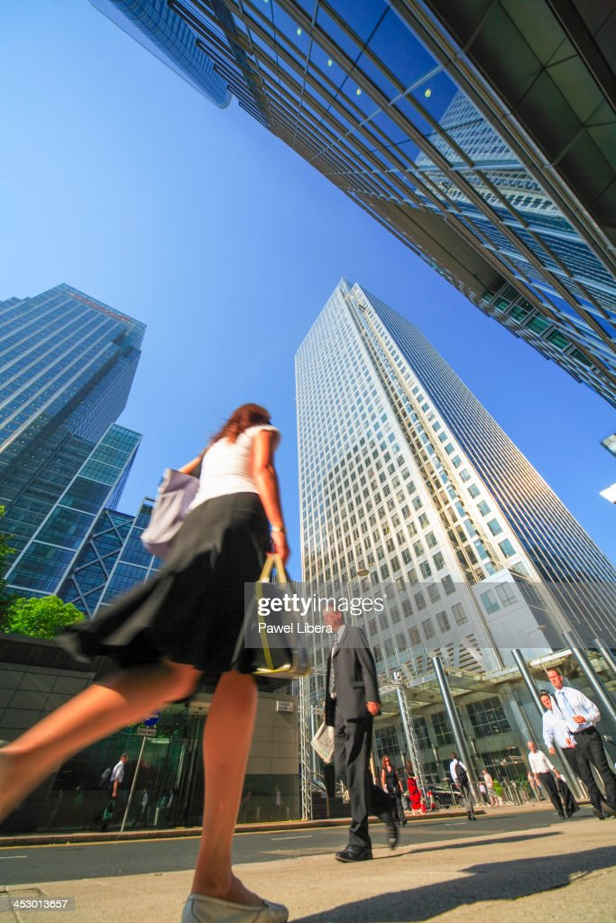 Business people activity at Canary Wharf in London's Docklands Financial District