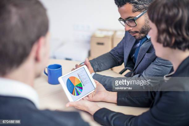 Business people analyzing pie chart on tablet PC