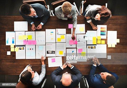 Business People Analyzing Statistics Financial Concept : Foto de stock