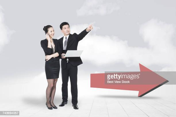 Business people and arrows symbol