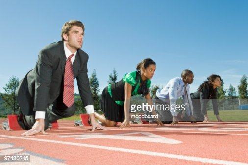 Business People At Starting Blocks : Stock-Foto