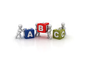 Business People Carrying ABC Buzzword Cubes - White Background - 3D Rendering