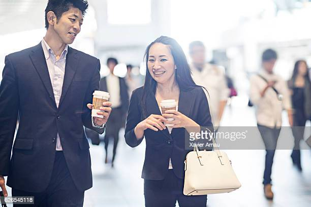 Business people commuting to work