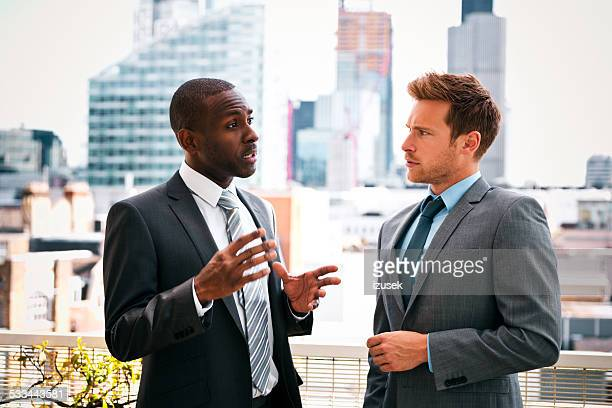 Business people discussing outdoor