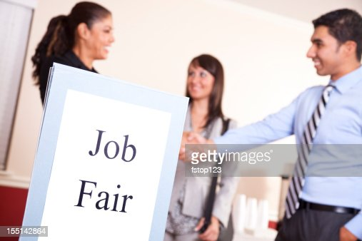 People gathering for a job fair.