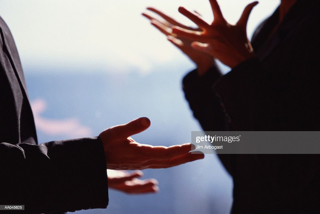 Business people having  discussion (focus on hands) : Stock Photo