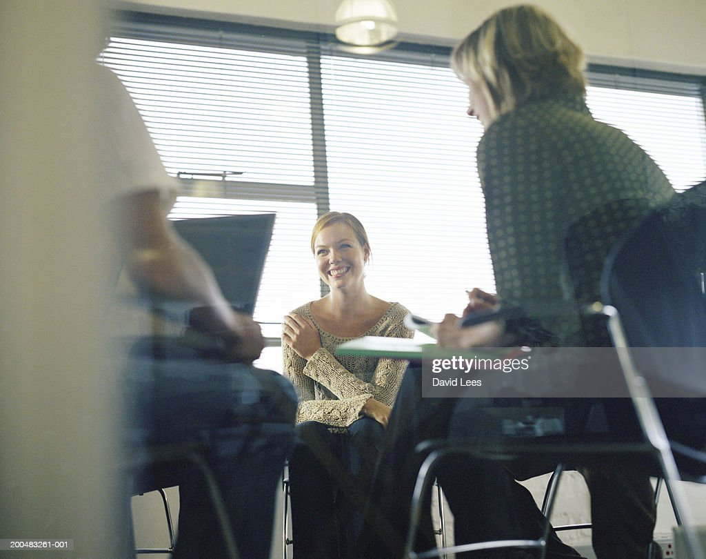 Business people having meeting in office, low angle view : Stockfoto