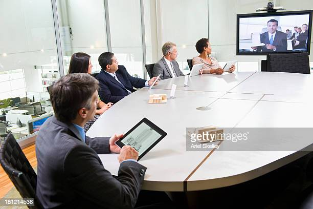 Business people having teleconference meeting