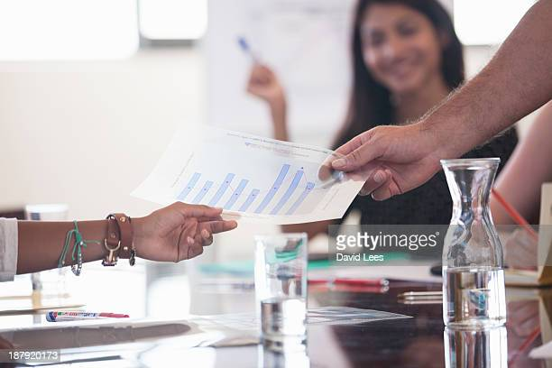 Business people holding bar graph in meeting
