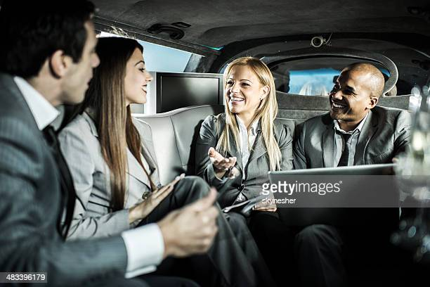 Business people in a limousine.